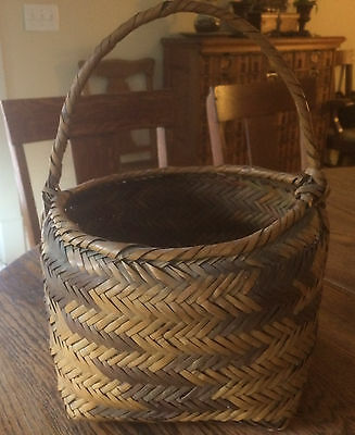 """Choctaw River Cane Basket / artifact vintage handwoven large w handle 16"""" tall"""