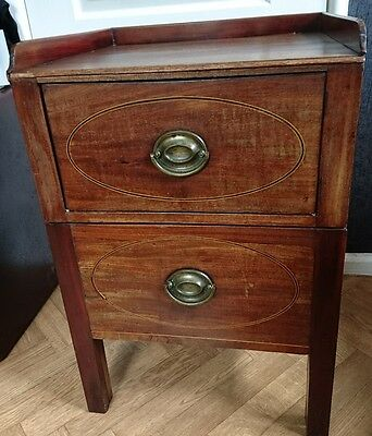 Antique George Iii Mahogany Inlaid Boxwood And Ebony Commode Bedside Cabinet