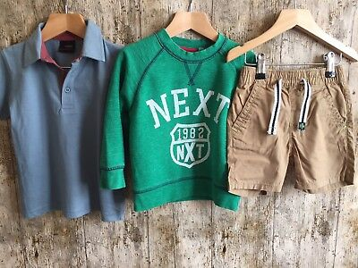 100% Next Boys Shorts Jumper Bundle 1.5-2 Years Sweater Shorts Tops Outfit P6