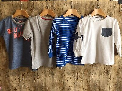 100% Next Boys T-Shirt Bundle 1.5-2-3 Years Long Short Sleeve Tops Outfit P7