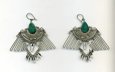 Peru Andes Earrings: Stylized bird shape, turquoise, bamboo, intricate metalwork