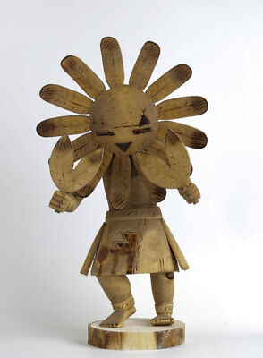 """Native American Indian Hand Carved Sunface Kachina Doll Figure 13"""""""