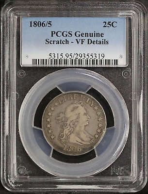 1806/5 Draped Bust Silver Quarter PCGS Genuine VF Details Scratch -120368