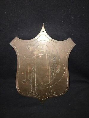 "1930's 14 7/8"" Brass Plaque Pediment"