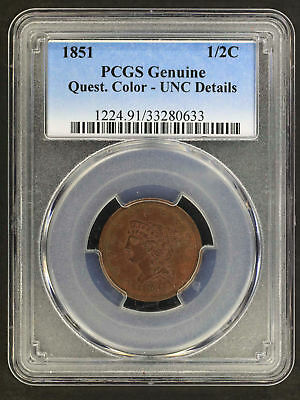1851 Braided Hair Half Cent PCGS UNC Details Questionable Color -156284