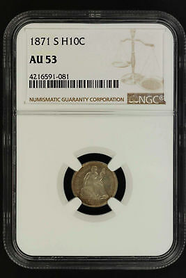 1871-S Seated Liberty Silver Half Dime NGC AU-53 -149055