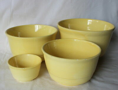 Vintage YELLOW Pottery Nesting Mixing Bowls Set of 4 JAPAN