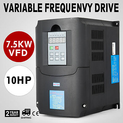 10HP 7.5KW 34A Variable Frequency Drive VFD 3 Phase Single Speed Inverter 220VAC