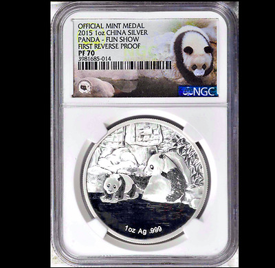 2015 PANDA COIN FIRST REVERSE PROOF FUN SHOW FLORIDA LABEL NGC 70 1 oz 999
