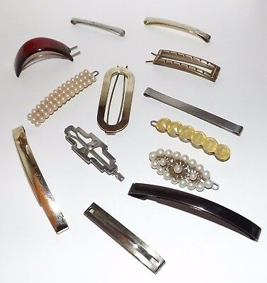Vintage Lot Of 13 Brass/Lucite/Metal Barrette/Hair Accessories