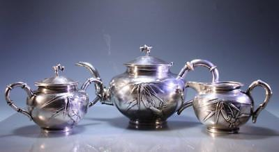 Chinese Three-Pieces Silver Tea Set,