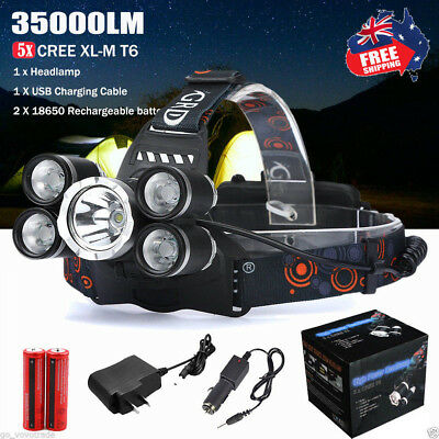35000LM 5x XM-L T6 LED Headlamp Headlight Flashlight Head Lamp 18650 Charger AU