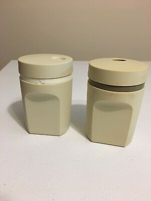 Tupperware Salt & Pepper Shakers #1471 Almond Color Made in USA