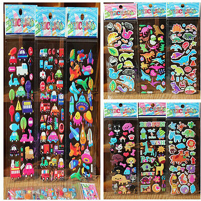 10pcs/Lot Bubble Stickers 3D Cartoon KIds ClassicToys Sticker School Reward TB