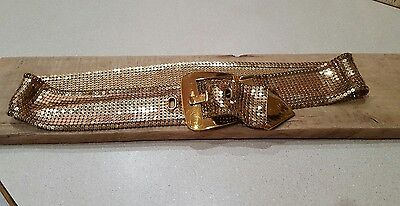 Vintage Whiting and Davis Belt Gold Metal Mesh Shiny Blingy Belt