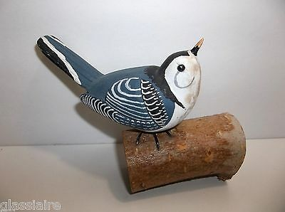 Carved Wood NUTHATCH Sculpture SIGNED