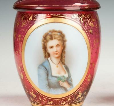 Antique Cranberry Enameled Glass Jar w Painted Portrait.