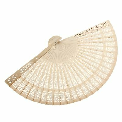 Ladies Sandalwood Hand Fan Wooden Holiday Wedding Party Cool Hot Sun Gift CU