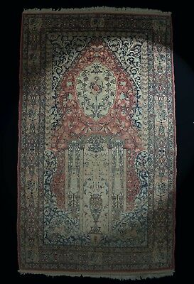 Antik Orient-Teppich Gebetsteppich  Wolle 163x95cm  rug tapis tappeto alfombra
