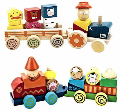 Wooden Pre School Push Pull A long Tractor Train Farm Yard Animals Stacking Toy