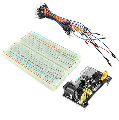 MB-102 400 Point PCB Breadboard + 65pcs Jump Cable + MB102 Power Supply Module