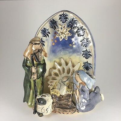 2001 Blue Sky Clayworks Heather Goldminc Traditional Nativity Light Not Included