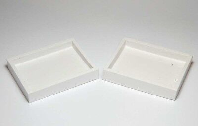 Set of 2 Miniature White Wooden Trays *Doll Mini Cute Tiny Wood Craft Food Crate