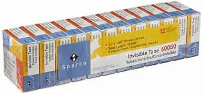 Sparco Invisible Tape 3/4 x 1000 Inches 1-Inch Core 12-Pack Clear SPR60050