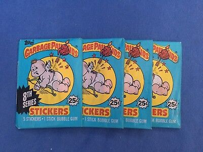 Lot of 4 GARBAGE PAIL KIDS 8th Series Wax Packs Topps 1987 Vintage GPK Stickers