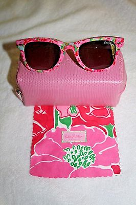 Lilly Pulitzer First Impression Sunglasses Pink Case Leaning Cloth Nwot