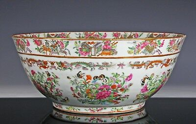 Impressive Antique Chinese Famille Rose Porcelain Punch Bowl W Great Color