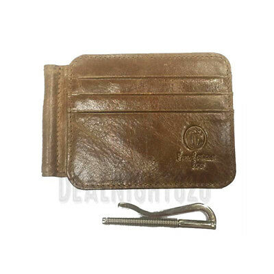 Men's Credit Card Case Holder Leather Slim Spring Money Clip Wallet Front Pocket