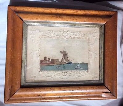 Antique 19th C. English Sand Picture (Isle of Wight Style) of Portsmouth Harbour
