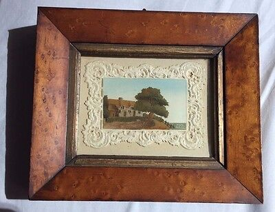 Antique Victorian Isle Wight Alum Bay Sand Painting Picture - Chine Inn Shanklin
