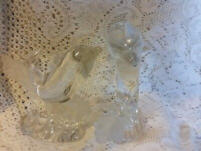 Lenox Crystal Clear Dolphins on Frosted Waves Pair