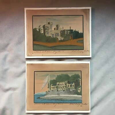 Pair (2) of Antique Isle of Wight Alum Bay Sand Pictures - E and W Cowes Castles
