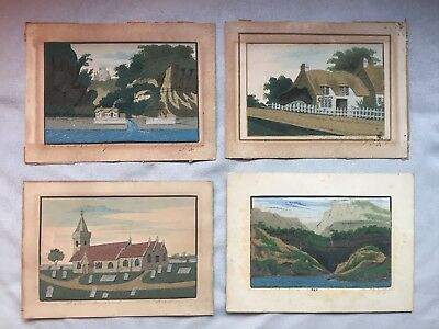 (4) Antique English Victorian Isle of Wight Alum Bay Sand Pictures / Paintings