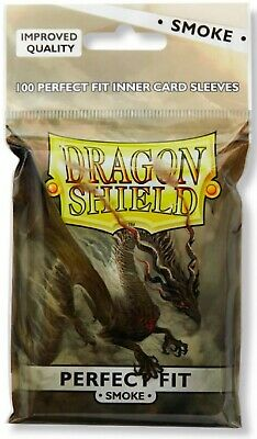 Dragon Shield Perfect Fit Inner Sleeves Smoke brand new 100 ct package at-13023