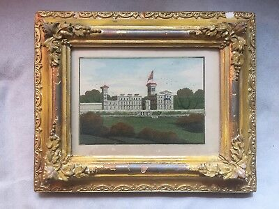 Antique Victorian Alum Bay Isle of Wight Sand Picture Painting of Osbourne House