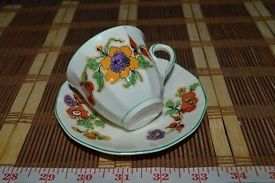 Myott, Son England Cup and Saucer  Red, Yellow and Purple Floral