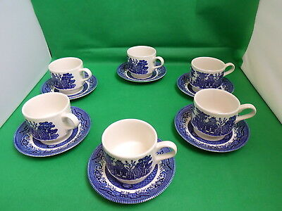 Churchill Willow Cups & Saucers x 6