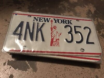 1986 New York License Plate 4NK 352
