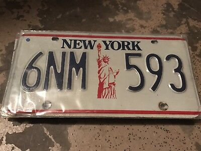 1986 New York License Plate 6NM 593