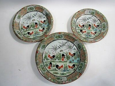 Old CHINESE Export ROOSTER Cockerel FAMILLE Rose 3 Nesting Shallow Serving Bowls