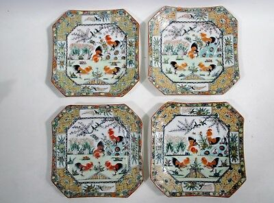 Old CHINESE Export ROOSTER Cockerel FAMILLE Rose 4 Square Salad Plates