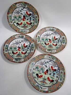 "Old CHINESE Export ROOSTER Cockerel FAMILLE Rose 4 - 8.5"" Luncheon Plates"