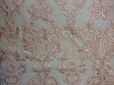 Antique Sequin Embroidered Lace Fabric By The Yard (Light Pink)