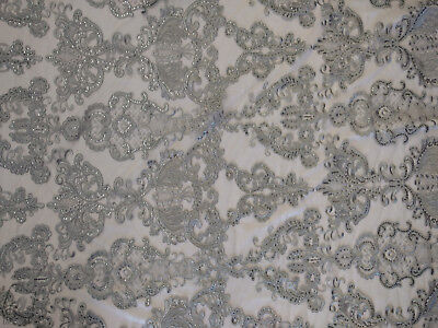 Antique Sequin Embroidered Lace Fabric By The Yard (Gold)
