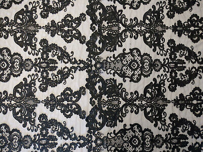 Antique Sequin Embroidered Lace Fabric By The Yard (Black)