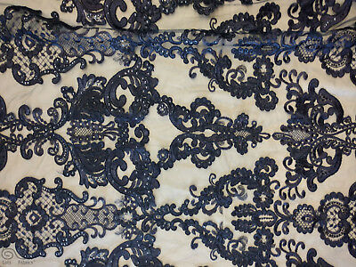 Antique Sequin Embroidered Lace Fabric By The Yard (Navy)
